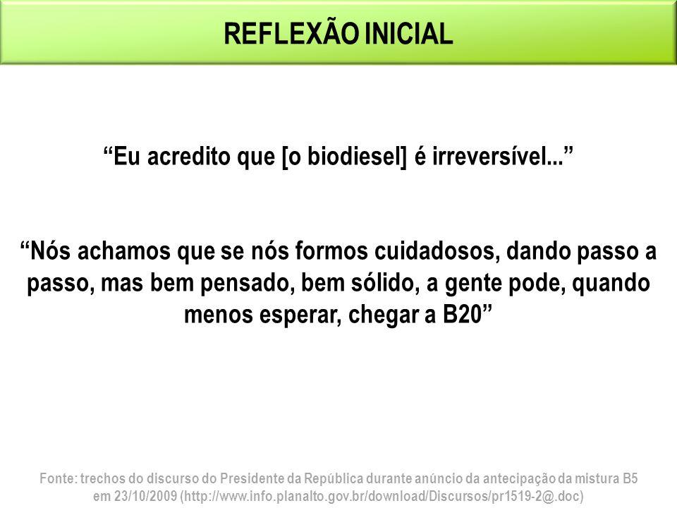 Eu acredito que [o biodiesel] é irreversível...